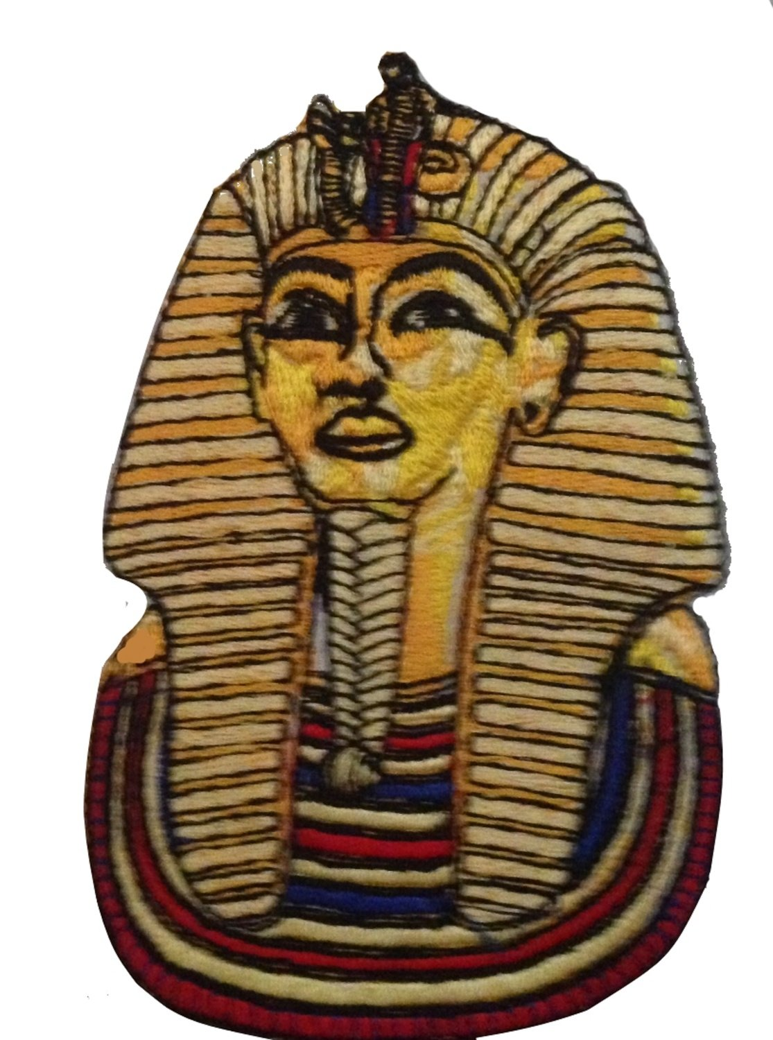 "Patch 4 3/8"" X 2 1/4"" TUTANKHAMUN EMBROIDERED DESIGN PATCH APPLIQUE DESIGN"