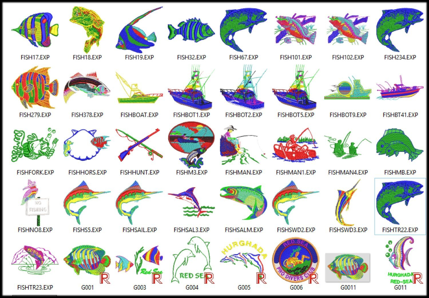80 Embroidery Fish Digitized Designs File to run Embroidery Machines in any Format