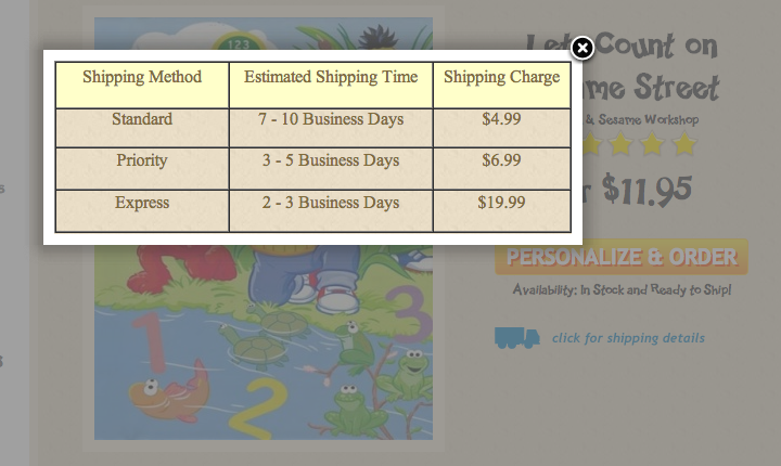 Quantity Pricing Table / Sizing Chart / Shipping Info