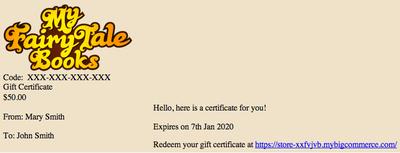 BigCommerce Digital Gift Certificate Customization