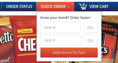 Quick Order - Item Drop Down
