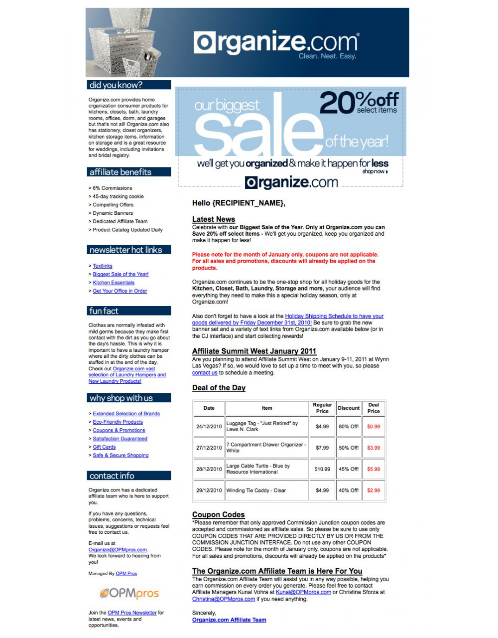 HTML Based Email Template