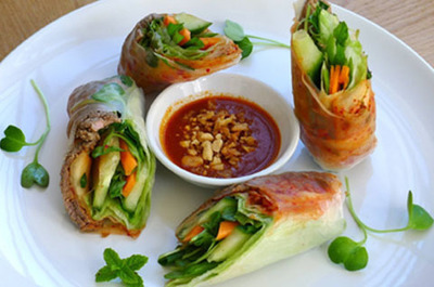 34.  Grilled Beef Spring Rolls (2 Rolls) - Goi Cuon Bo Nuong