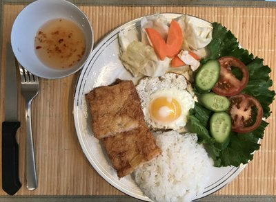57.  Shrimp Paste Wrapped Tofu Skin, Egg, Salad & Steamed Rice (Com Tau Hu Ky, Trung Chien, Salad)