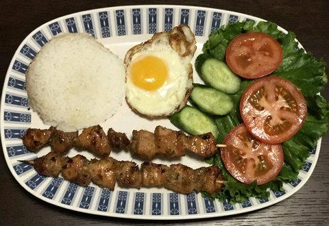 55. Steamed Rice w/ Fried Chicken & Salads
