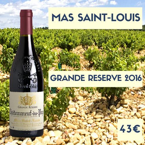 6 bouteilles du Mas Saint-Louis, Châteauneuf-du-Pape Rouge Grande Réserve 2016 (43€)