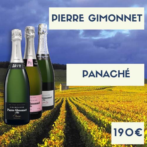"""Carton panaché de Champagne Pierre Gimonnet 2 """"Cuis"""", 2 Rosés, 2 Fleuron 2014 (190€)"""