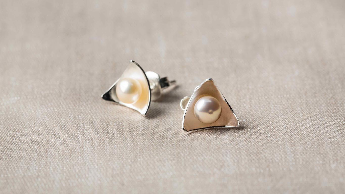 "Earrings ""Triangle Pearls"" RO57TS"