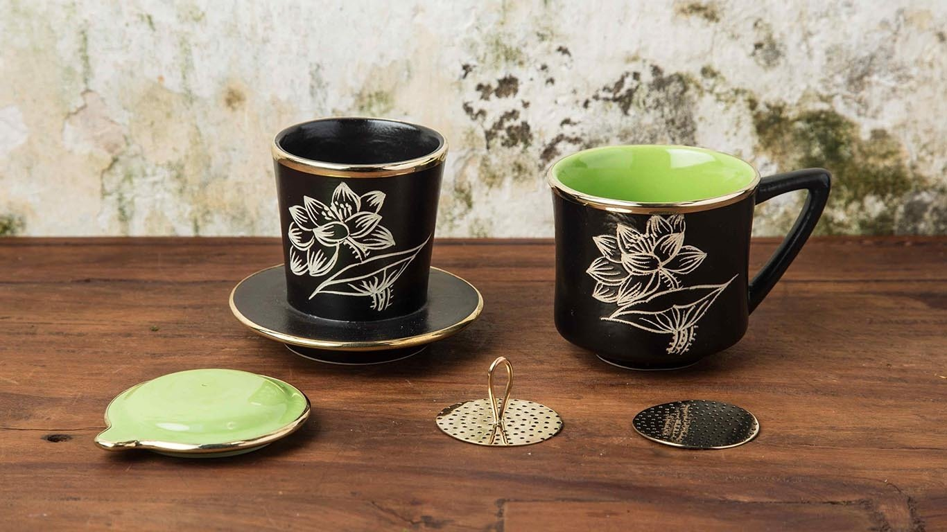 Ceramic Vietnamese coffee drip filter set