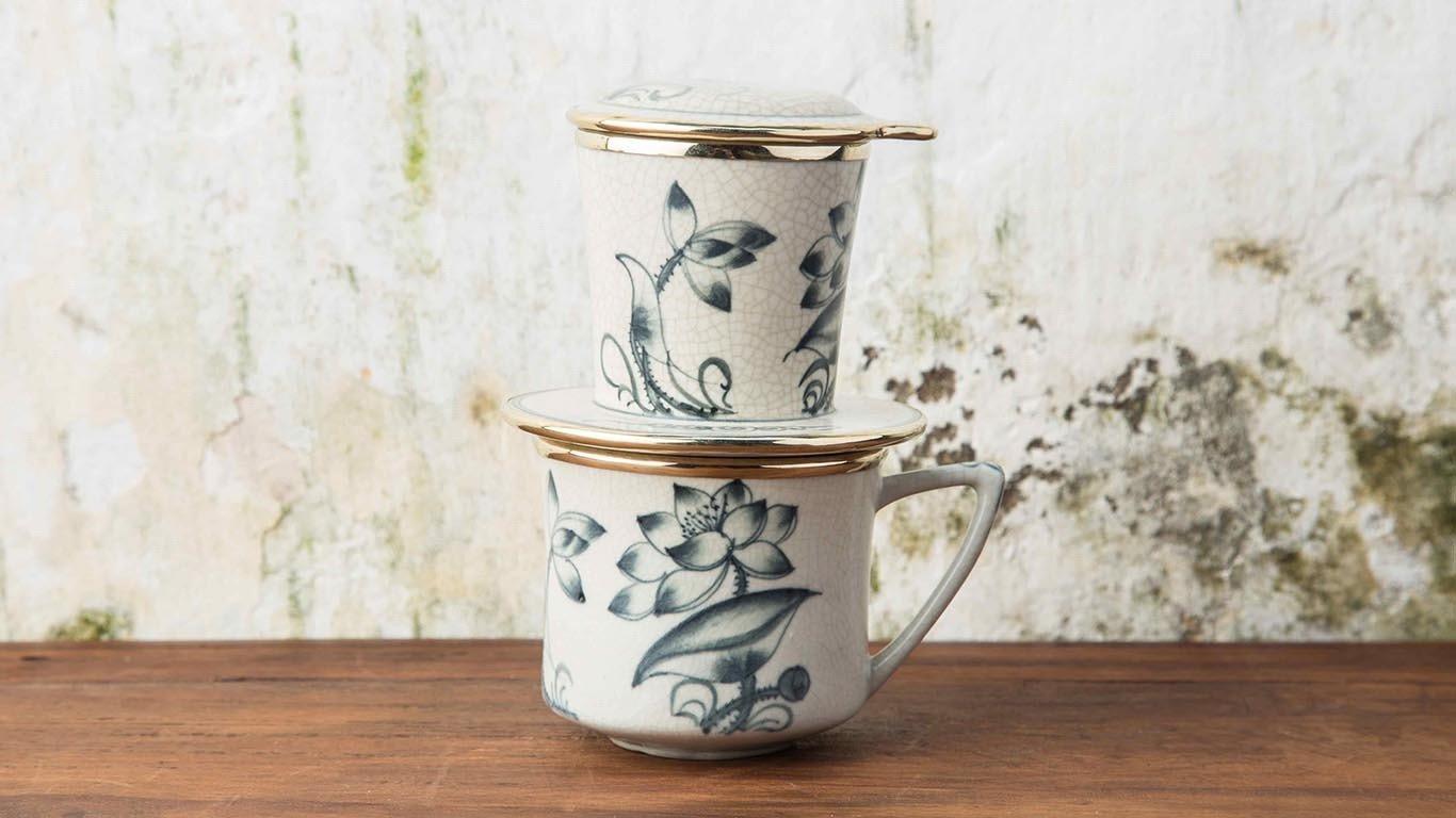 Ceramic Vietnamese coffee drip filter set PV1T