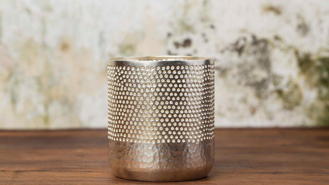 Cylinder Plated silver candle holder