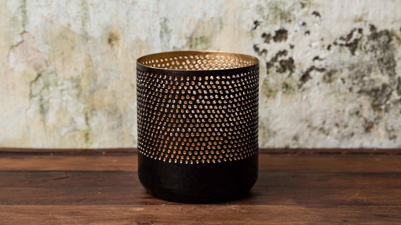 Black cylinder candle holder