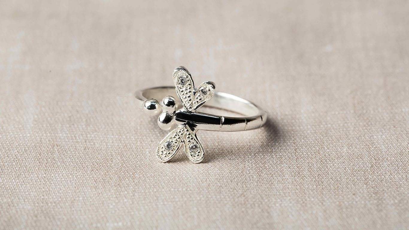 Sterling Silver Adjustable Dragonfly Ring