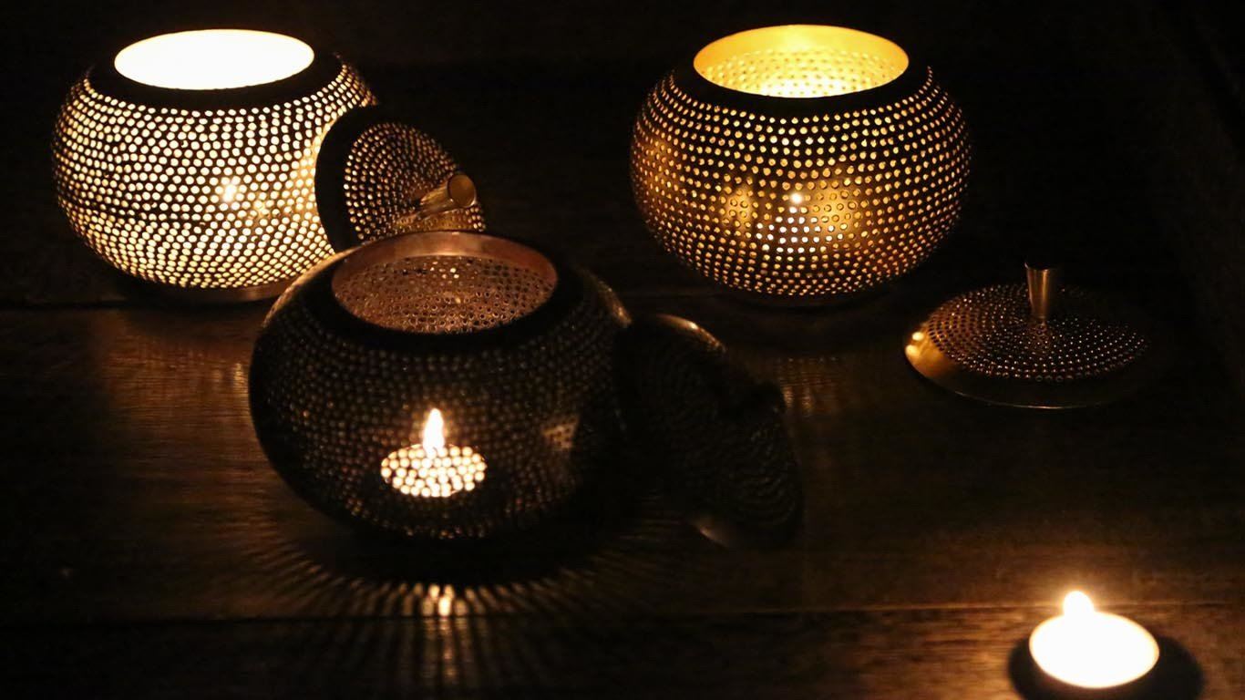 """Candle holder """"Black and Gold Pumpkin"""" HP2TS"""