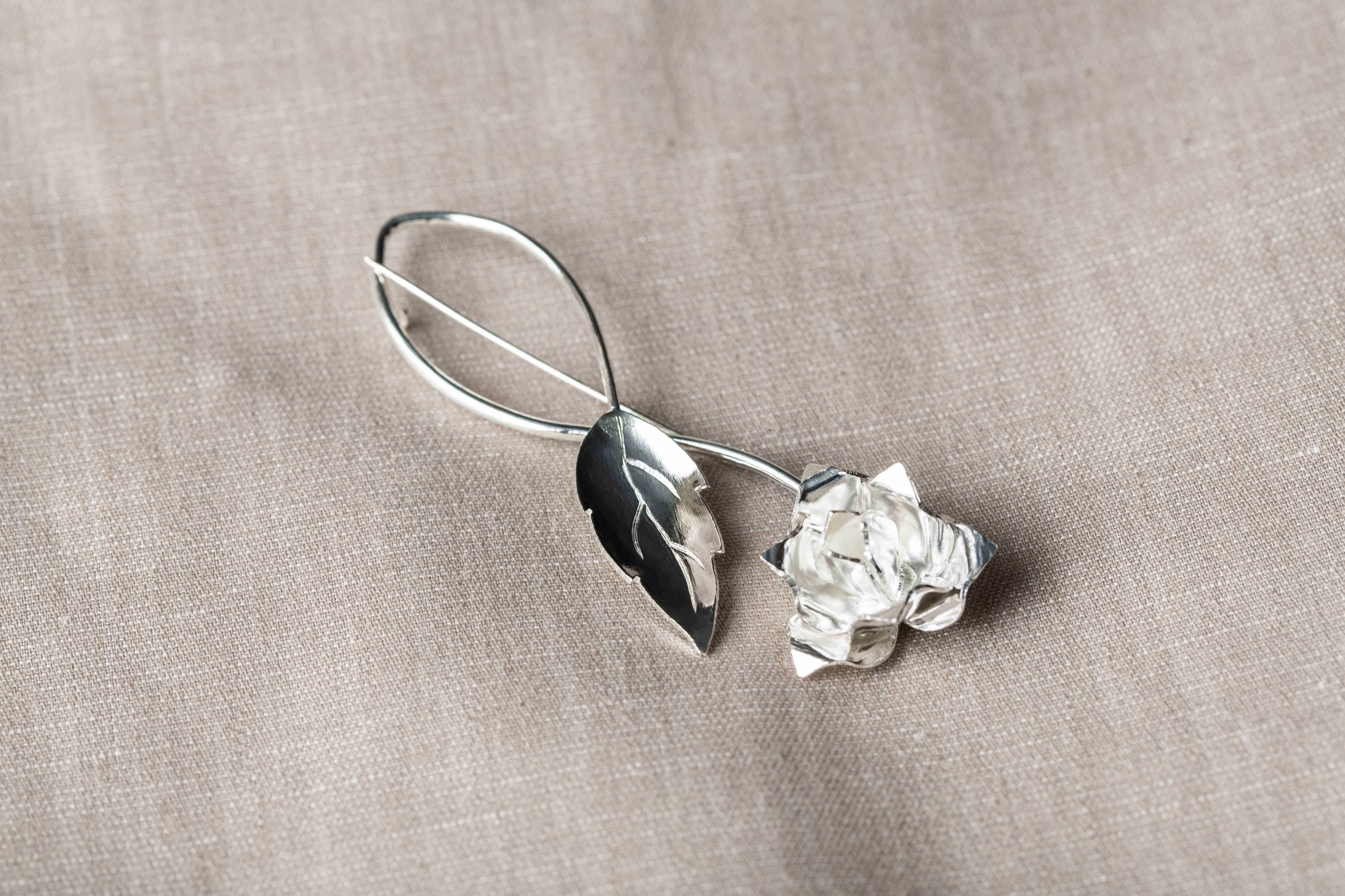 Reaching Out Silver Lotus Brooch