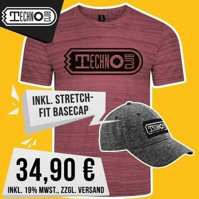 Technoclub Premium Streak Tee + Stretch-Fit Basecap (Men)