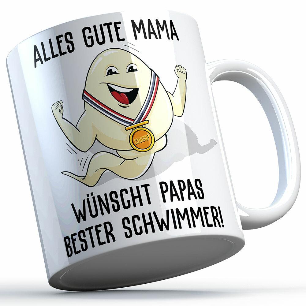 """""""Alles Gute Mama wünscht Papas bester Schwimmer"""" Spermium Tasse (Variante: Weißer Henkel) 92153"""