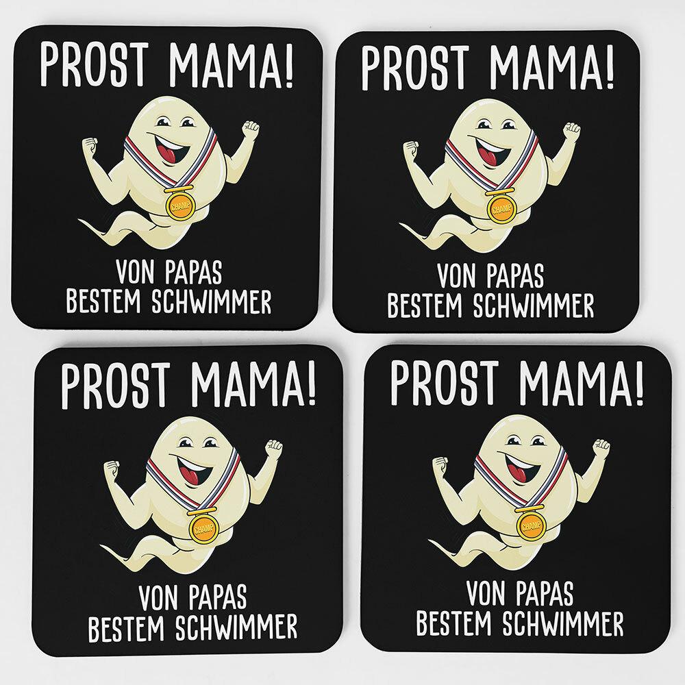 """""""Alles Gute Mama wünscht Papas bester Schwimmer"""" Spermium Tasse (Variante: Schwarzer Henkel)"""
