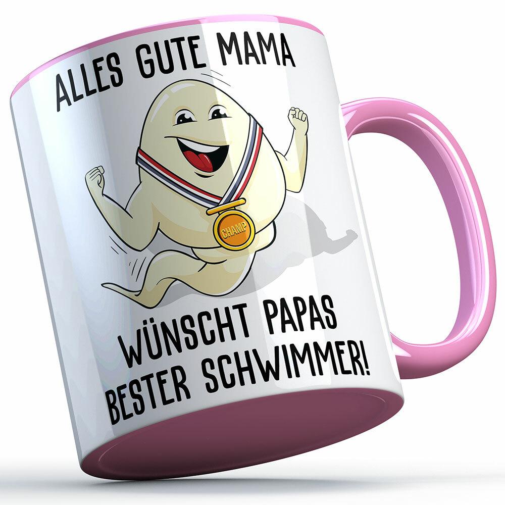 """Alles Gute Mama wünscht Papas bester Schwimmer"" Spermium Tasse (Variante: Rosa Henkel) 92154"
