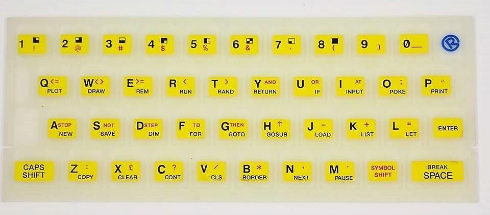 ZX SPECTRUM 16k/48k Fluorescent keyboard mat Yellow