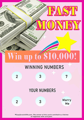 Printable Lottery scratch off card