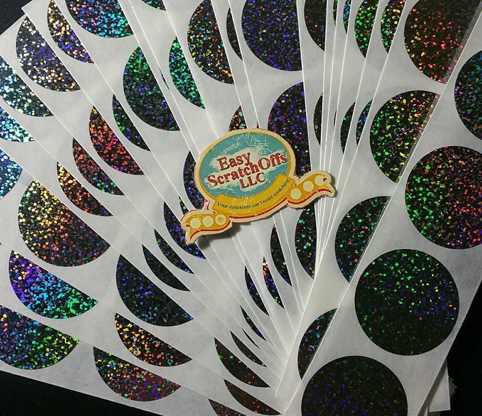 Hologram glitter scratch off stickers, set of 100